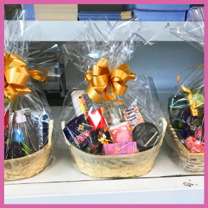 Basket with multiple prizes inside